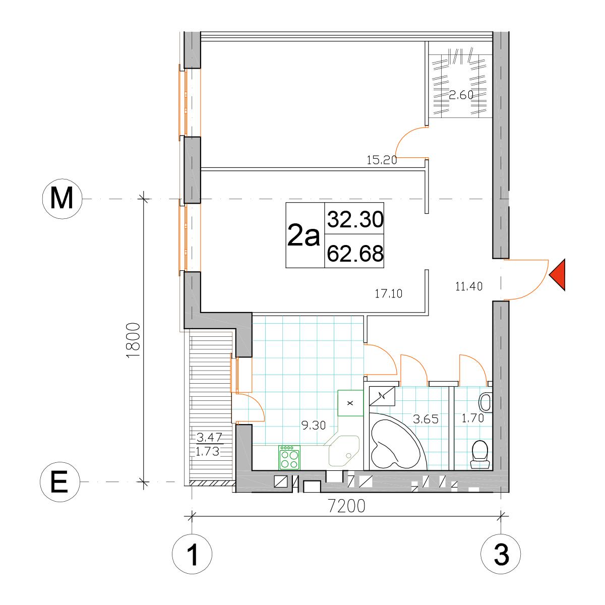 Планировка двухкомнатной квартиры в ЖК Саме Той