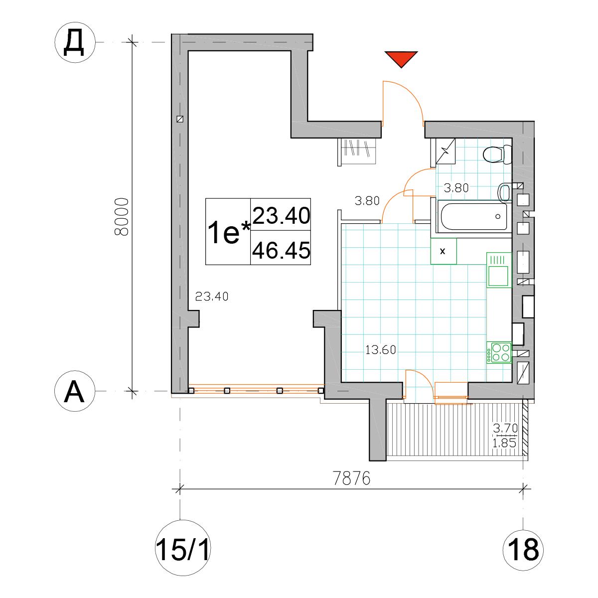 Планировка однокомнатной квартиры в ЖК Саме Той