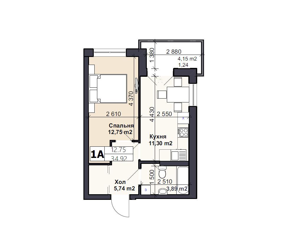 Квартира тип 1A