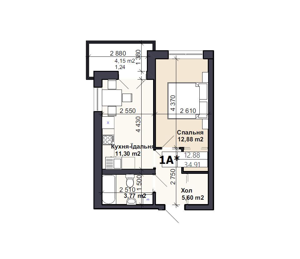 Квартира тип 1A*