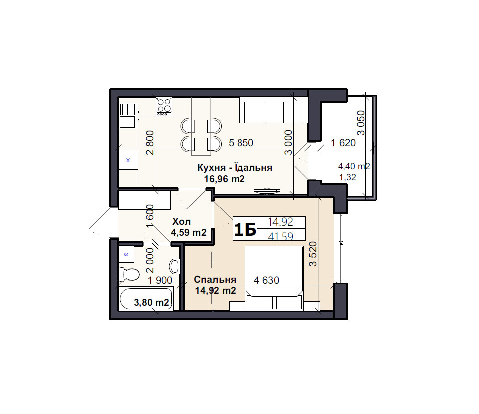 Квартира тип 1Б
