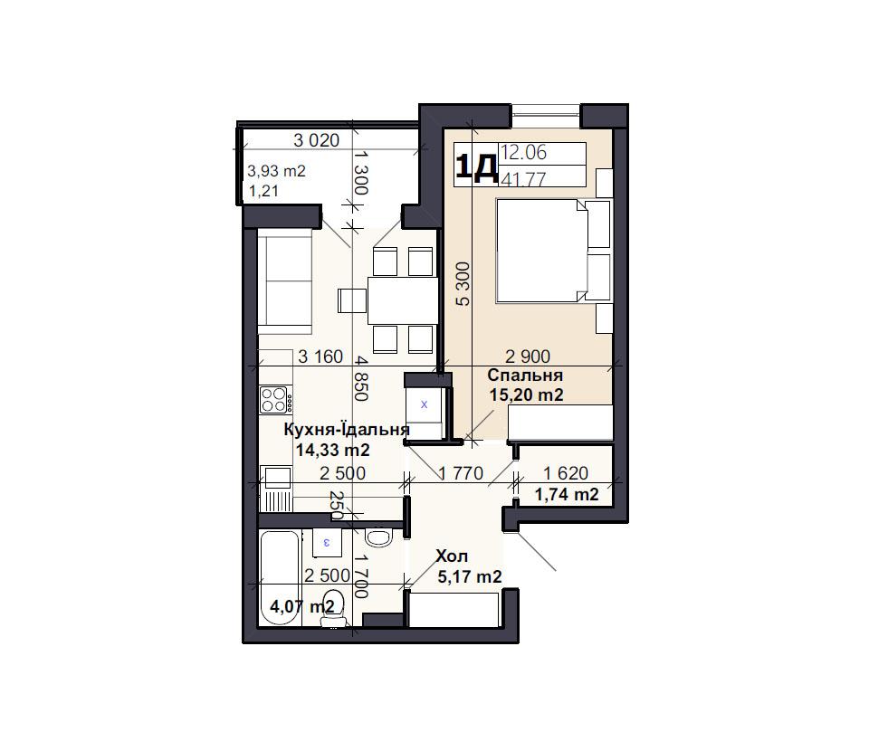 Квартира тип 1Д