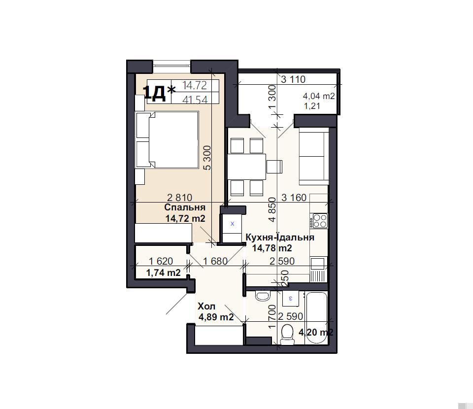 Квартира тип 1Д*
