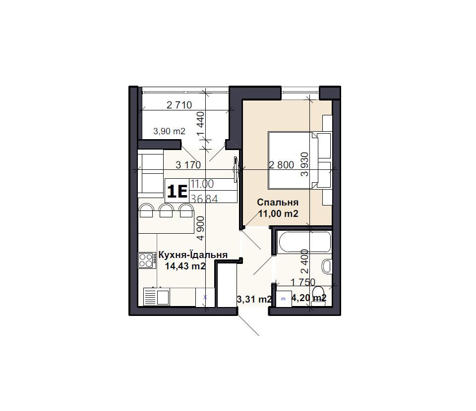 Квартира тип 1E