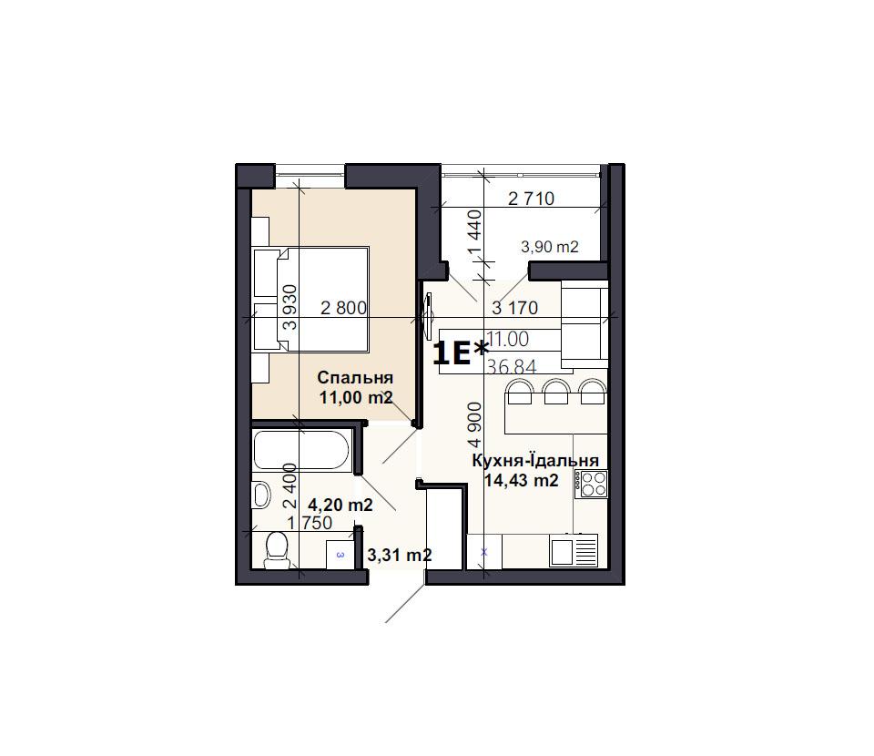 Квартира тип 1E*
