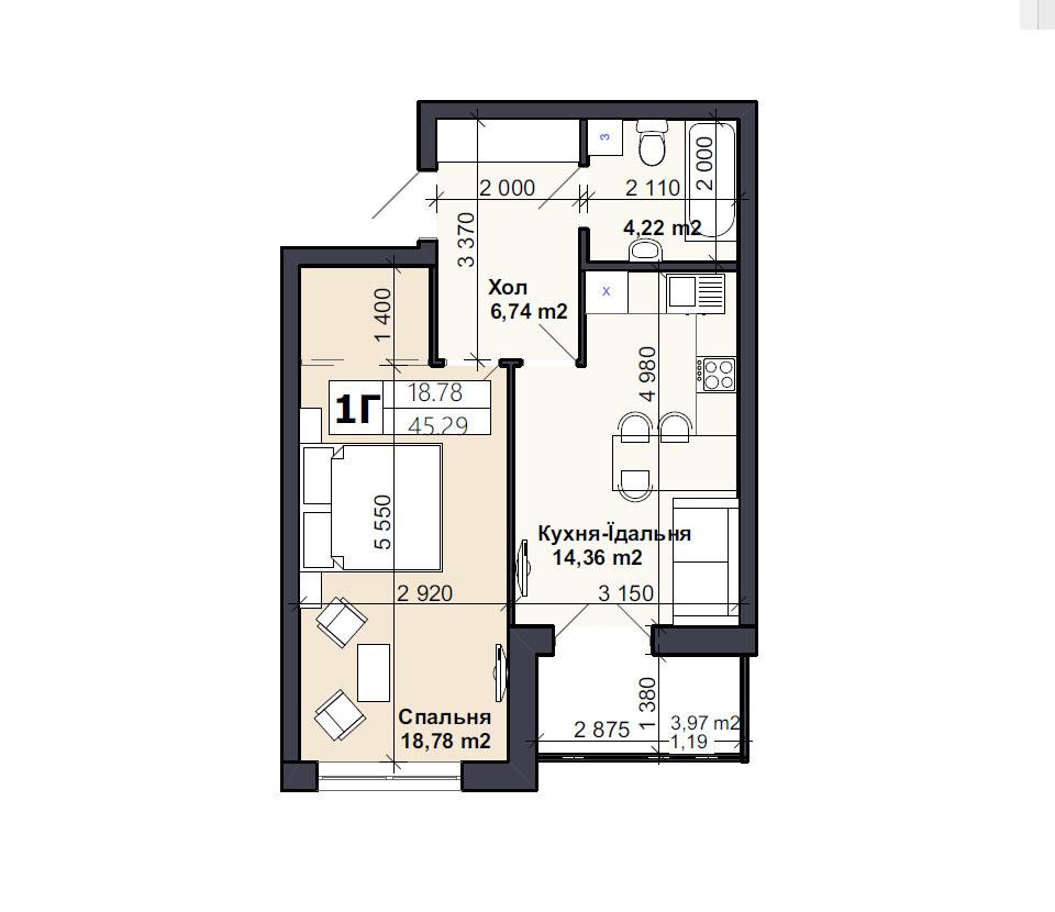 Квартира тип 1Г
