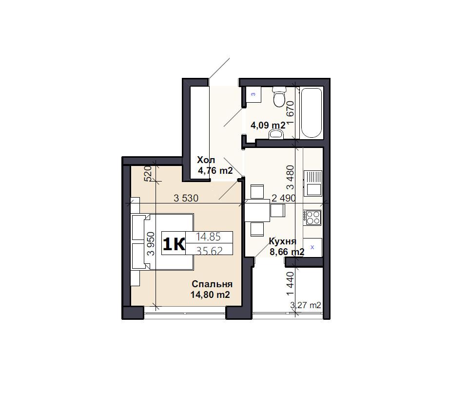 Квартира тип 1К