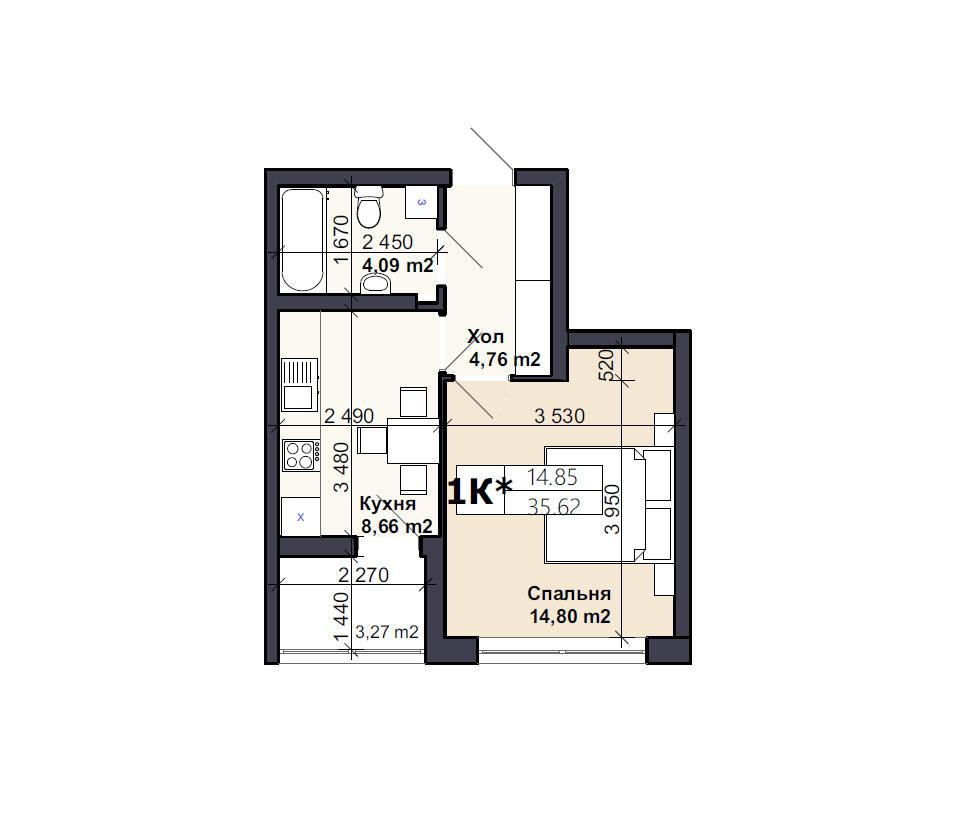 Квартира тип 1К*