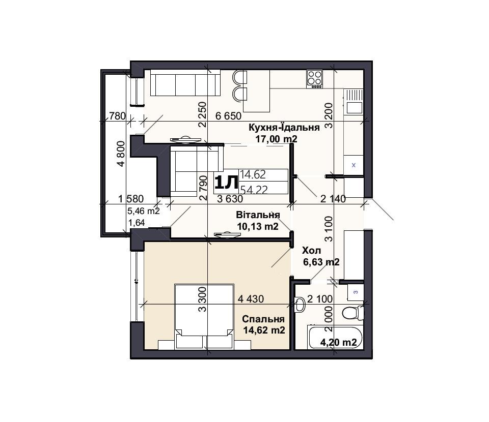 Квартира тип 1Л