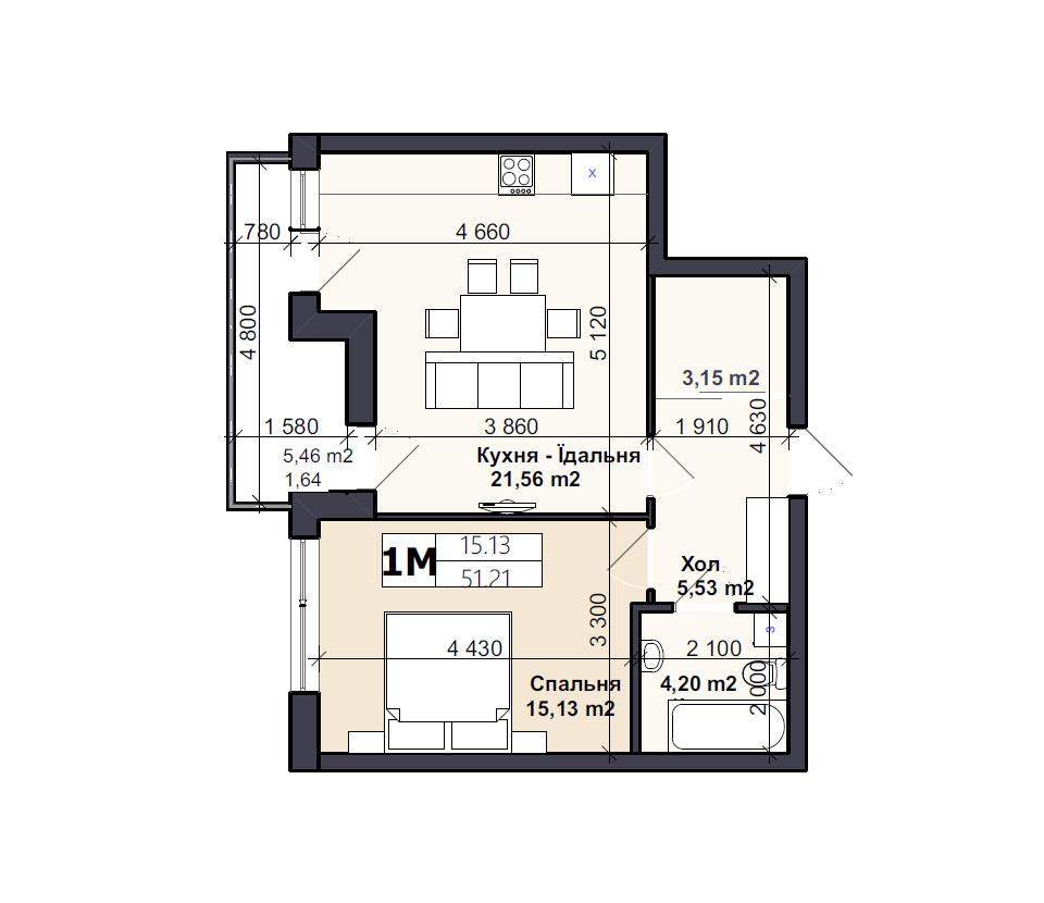 Квартира тип 1М