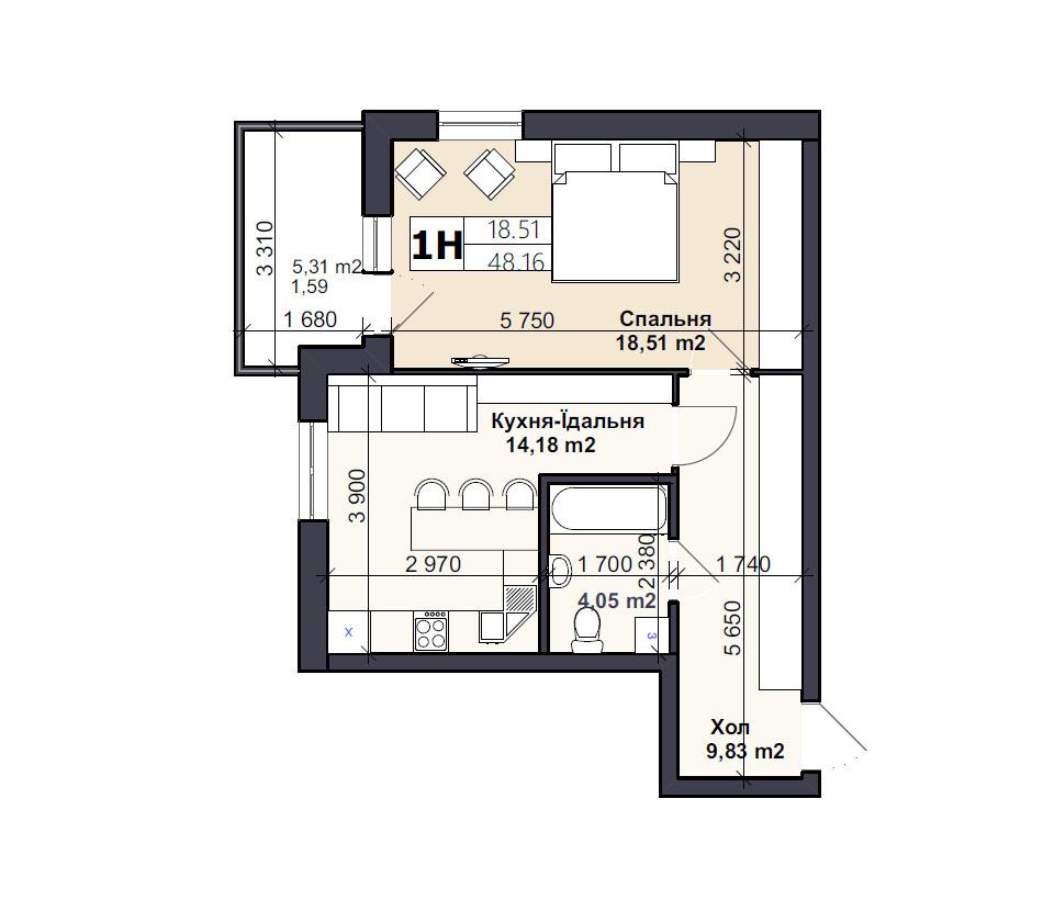 Квартира тип 1Н