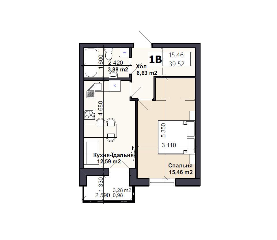 Квартира тип 1В