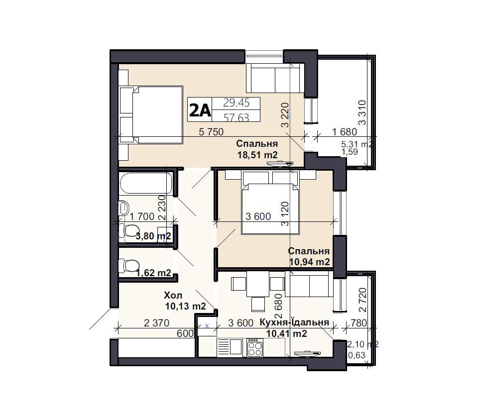Квартира тип 2А1