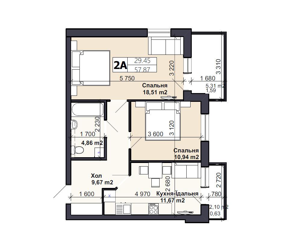 Квартира тип 2А2