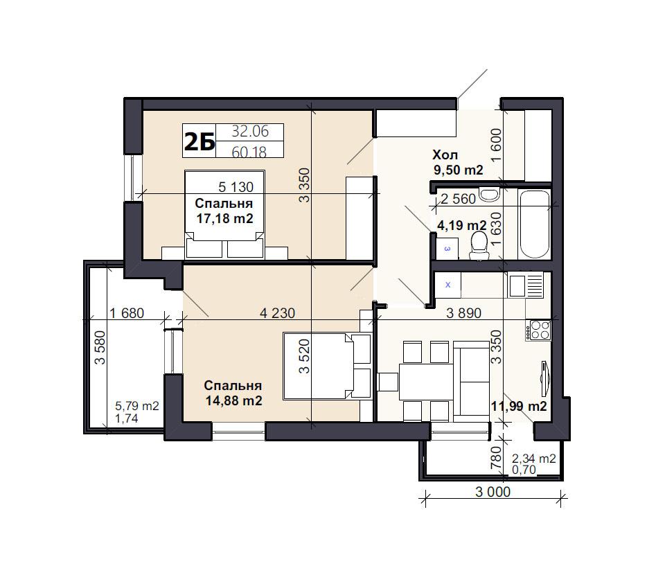 Квартира тип 2Б