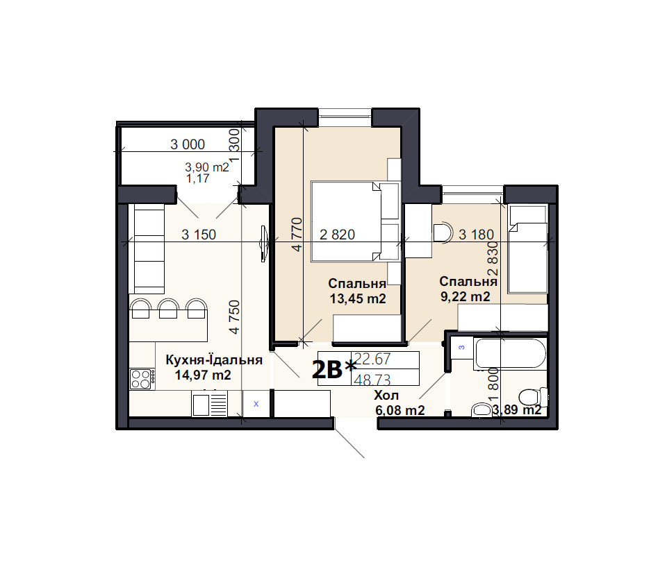 Квартира тип 2В*