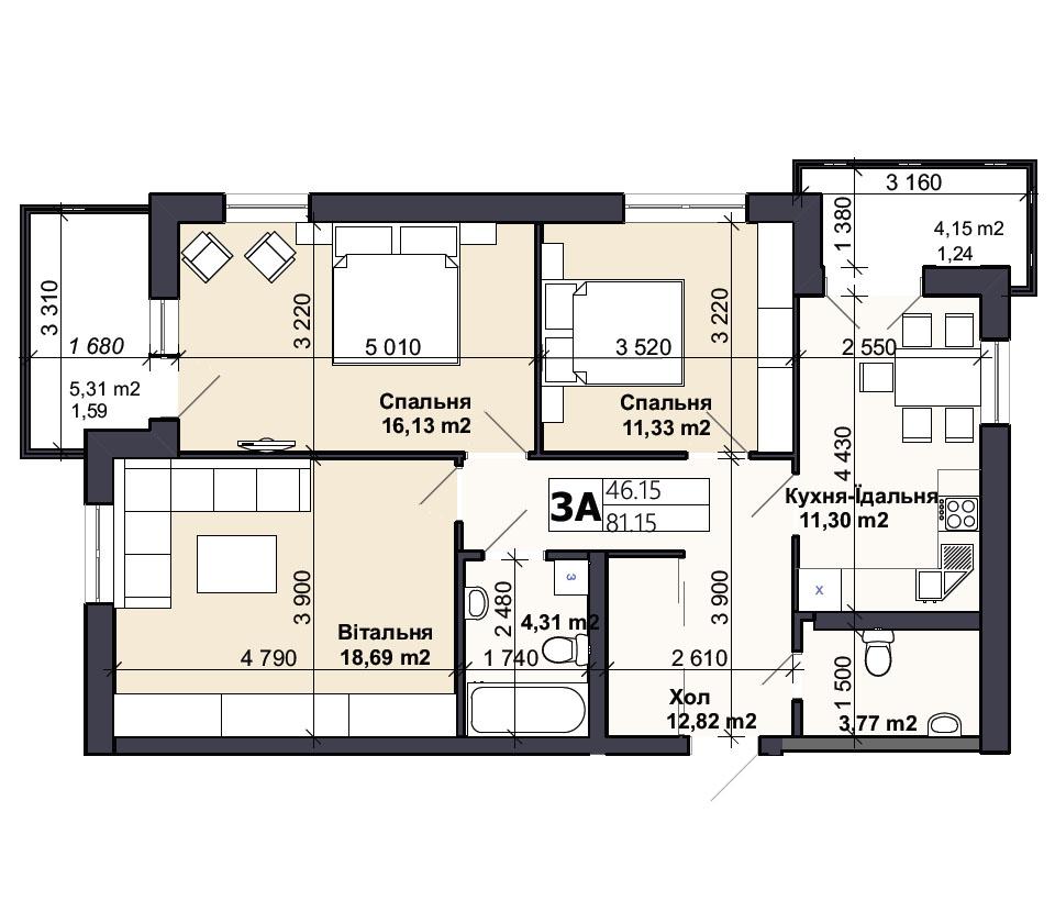 Квартира тип 3А